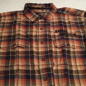 HARLEY DAVIDSON PLAID FLANNEL WITH EMBROIDERY